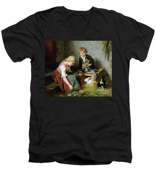 Feeding The Rabbits Men's V-Neck T-Shirt by Felix Schlesinger