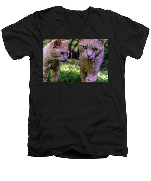 Feline Best Friends Skippy And Lovey 0369 Men's V-Neck T-Shirt
