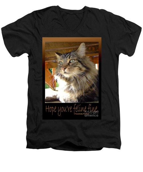 Men's V-Neck T-Shirt featuring the photograph Feline Fine by Marianne NANA Betts