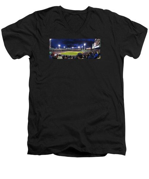 Fenway Night Men's V-Neck T-Shirt by Rick Berk