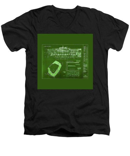 Fenway Park Blueprints Home Of Baseball Team Boston Red Sox Men's V-Neck T-Shirt