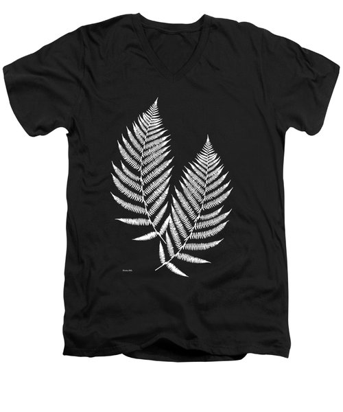 Men's V-Neck T-Shirt featuring the mixed media Fern Pattern Black And White by Christina Rollo