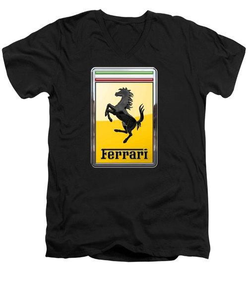 Ferrari - 3 D Badge On Black Men's V-Neck T-Shirt