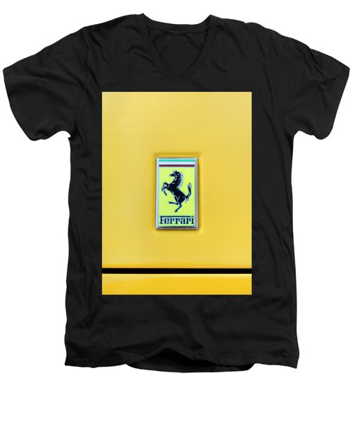 Ferrari Badge Men's V-Neck T-Shirt by Theresa Tahara