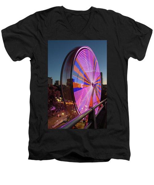 Ferris Wheel At Fun Fair In Downtown Portland Oregon Men's V-Neck T-Shirt