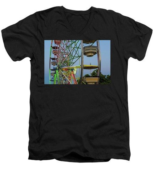 Ferris Wheel Lights At Dusk Closeup Men's V-Neck T-Shirt