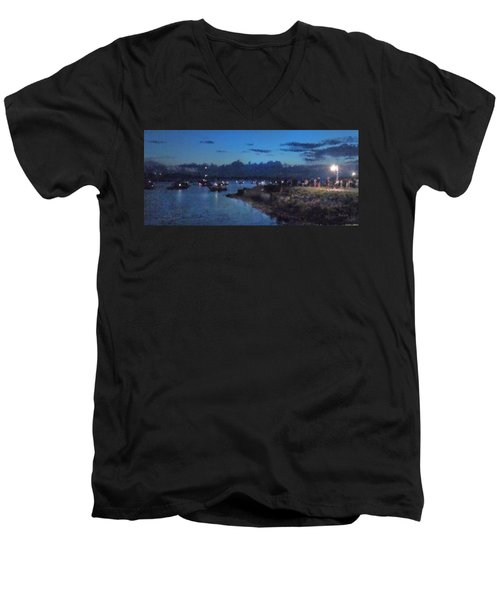 Festival Night Land And Shore Men's V-Neck T-Shirt by Felipe Adan Lerma