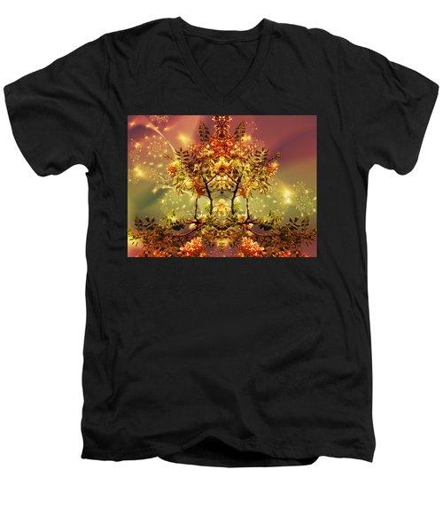 Festive Fractal Men's V-Neck T-Shirt