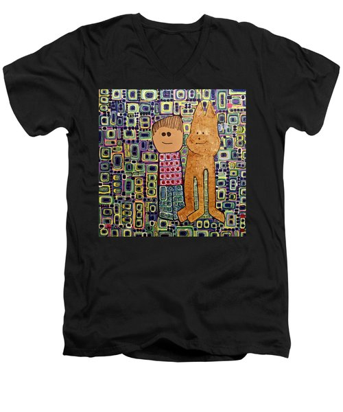 Men's V-Neck T-Shirt featuring the painting Fetch.. You Fetch by Donna Howard