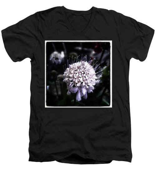 Men's V-Neck T-Shirt featuring the photograph Field Scabious. A Member Of The by Mr Photojimsf