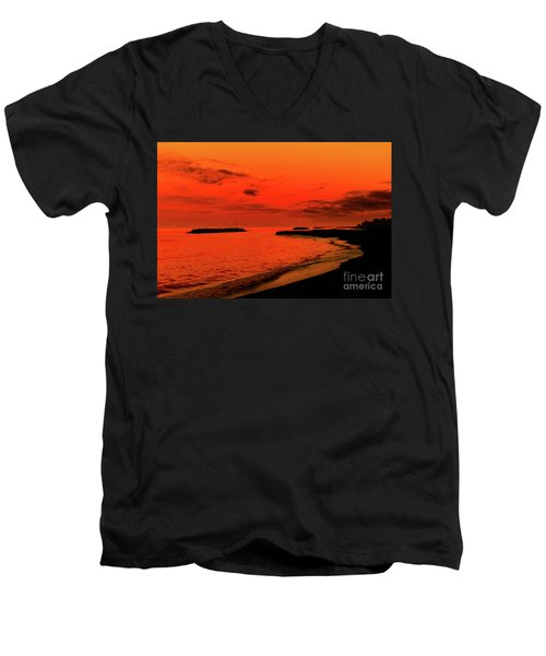 Men's V-Neck T-Shirt featuring the photograph Fiery Lake Sunset by Randy Steele