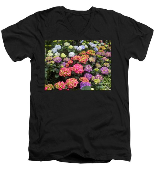 Fifty Shades Of Hydrangea Men's V-Neck T-Shirt by Lingfai Leung