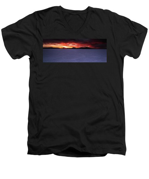 Men's V-Neck T-Shirt featuring the photograph Fight For The Light by Edgars Erglis
