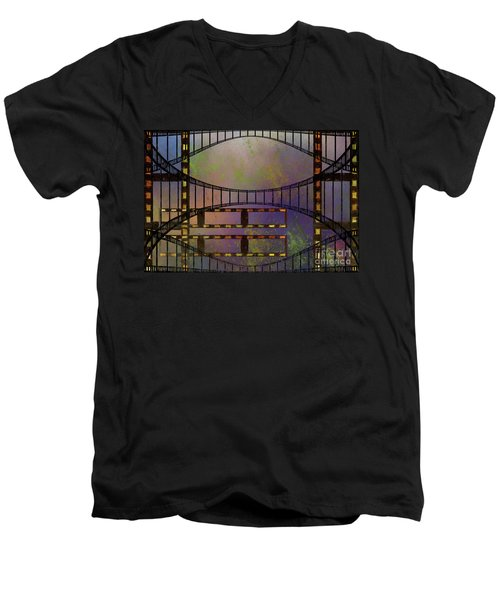 Men's V-Neck T-Shirt featuring the mixed media Film Is Dead by Jim  Hatch