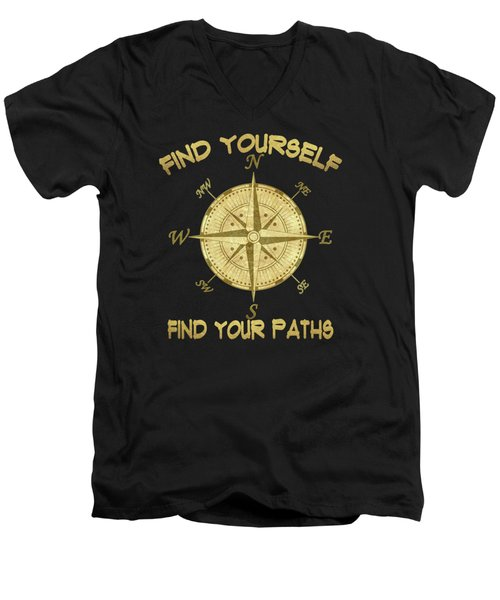 Men's V-Neck T-Shirt featuring the painting Find Yourself Find Your Paths by Georgeta Blanaru