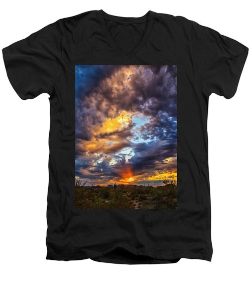 Finger Painted Sunset Men's V-Neck T-Shirt by Rick Furmanek