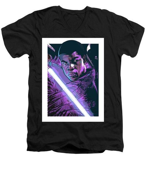 Men's V-Neck T-Shirt featuring the digital art Finn by Antonio Romero