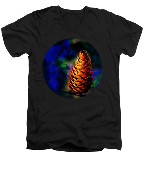 Men's V-Neck T-Shirt featuring the photograph Fir Cone by Nick Kloepping