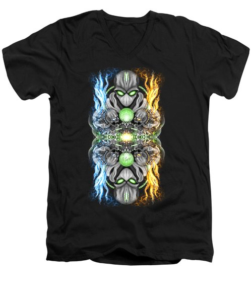 Fire And Ice Alien Time Machine Men's V-Neck T-Shirt