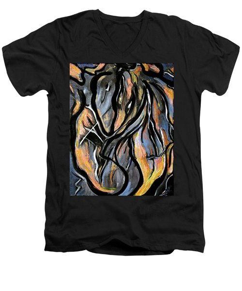 Men's V-Neck T-Shirt featuring the painting Fire And Stone by Lynda Lehmann