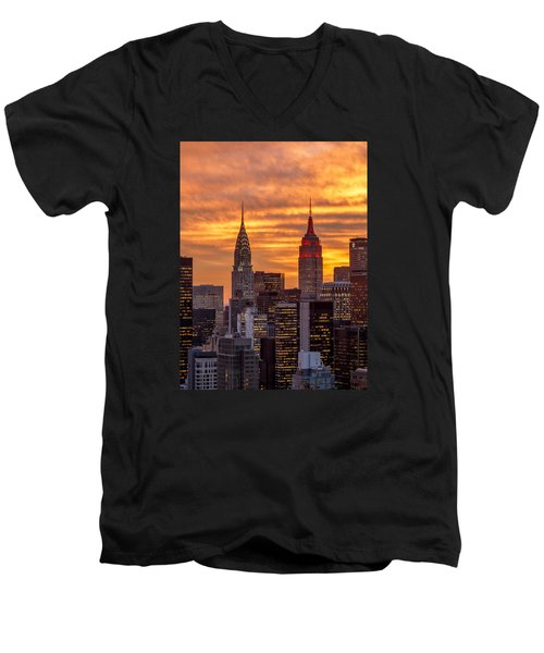 Fire In The Sky Men's V-Neck T-Shirt by Anthony Fields
