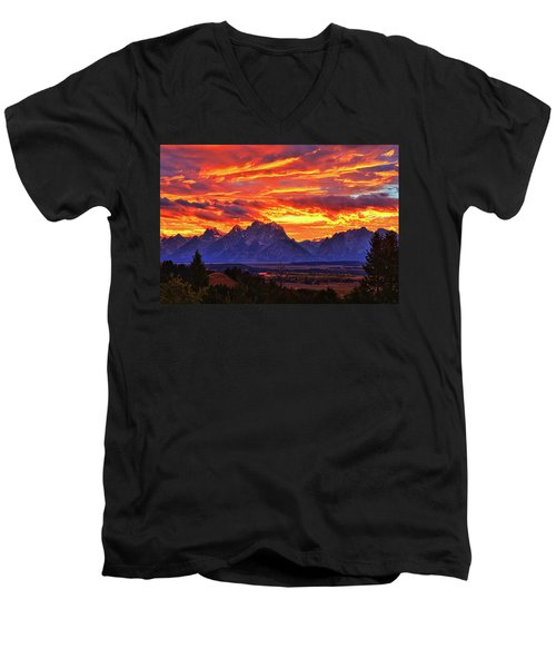 Fire In The Teton Sky Men's V-Neck T-Shirt