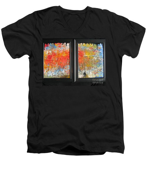 Men's V-Neck T-Shirt featuring the painting Fire On The Prairie by Jacqueline Athmann