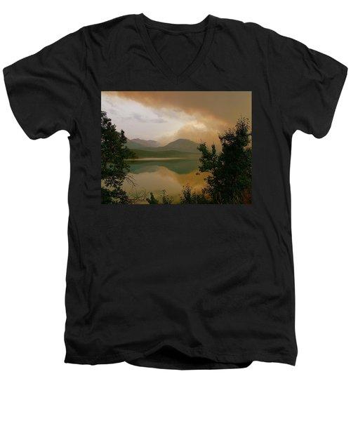 Fire Over St Mary Lake Men's V-Neck T-Shirt