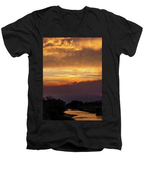 Fire Sky At Sunset Men's V-Neck T-Shirt