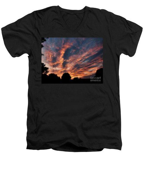 Fire Swept Sky  Men's V-Neck T-Shirt by Christy Ricafrente