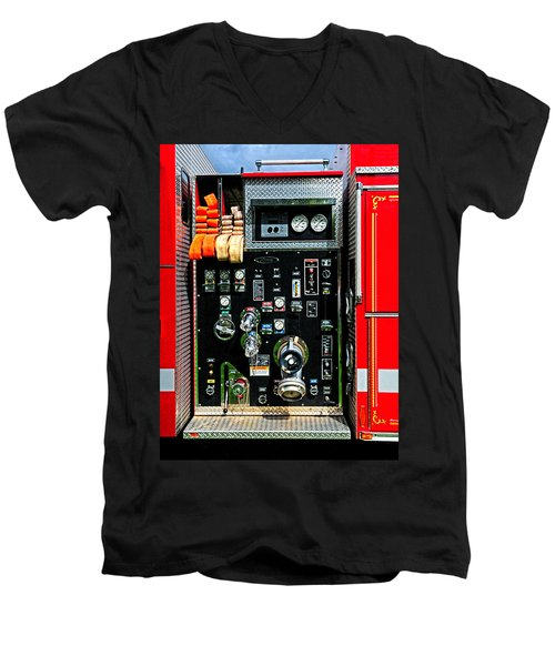 Fire Truck Control Panel Men's V-Neck T-Shirt by Dave Mills