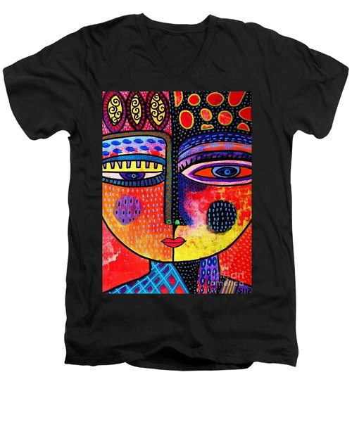 Fire Volcano Goddess Men's V-Neck T-Shirt by Sandra Silberzweig