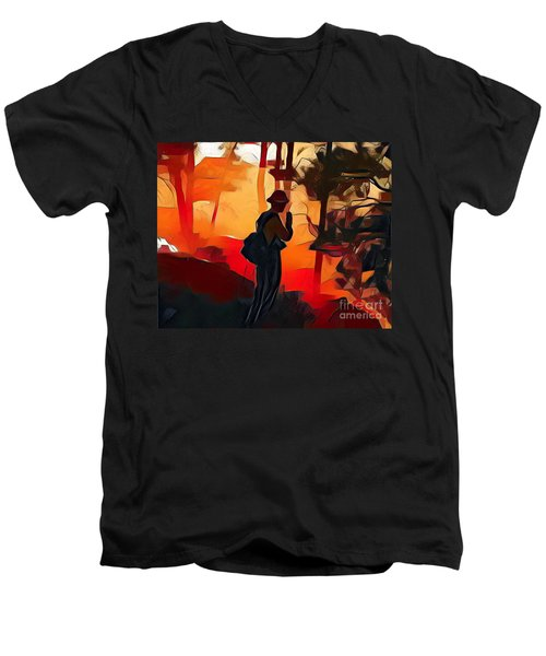 Firefighter On White Draw Fire Men's V-Neck T-Shirt