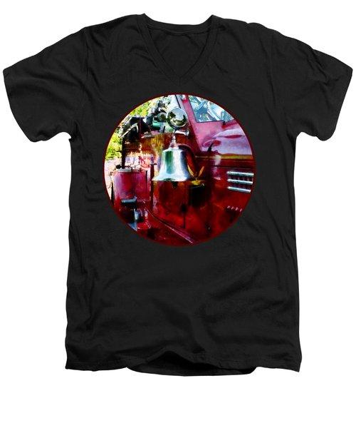 Fireman - Bell On Fire Engine Men's V-Neck T-Shirt by Susan Savad