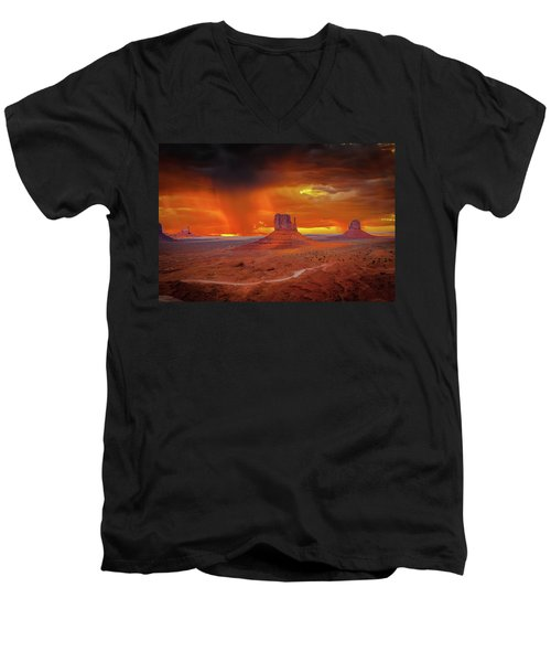 Firestorm Over The Valley Men's V-Neck T-Shirt by Mark Dunton