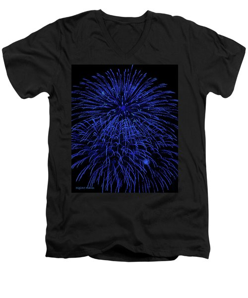 Firework Blues Men's V-Neck T-Shirt by DigiArt Diaries by Vicky B Fuller
