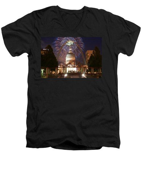 Fireworks At The Arch 1 Men's V-Neck T-Shirt