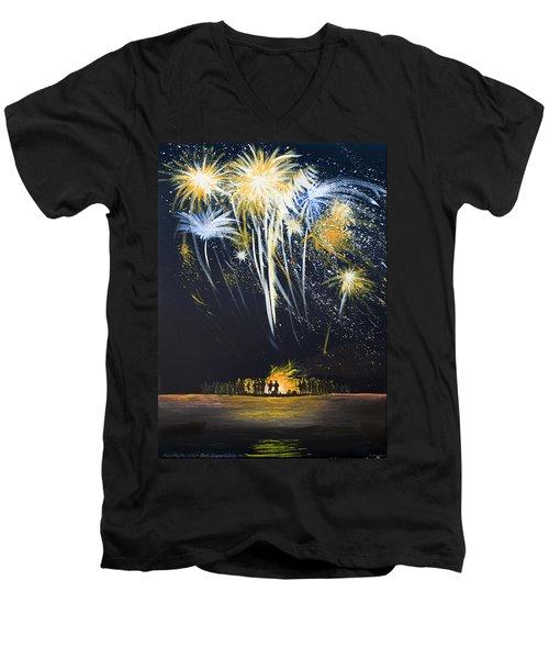 Fireworks Bonfire On The West Bar Men's V-Neck T-Shirt