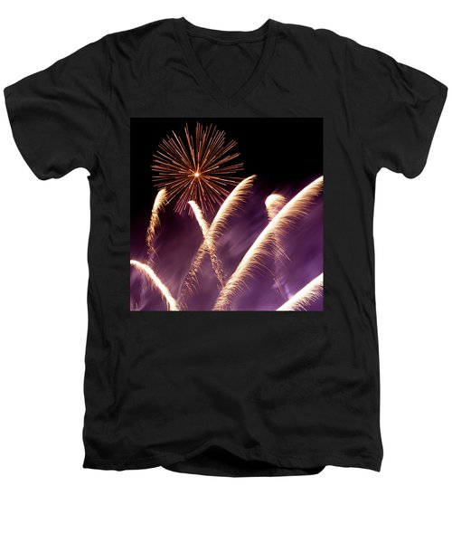 Fireworks In The Night Men's V-Neck T-Shirt