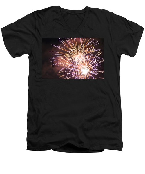 Men's V-Neck T-Shirt featuring the digital art Fireworks In The Park 3 by Gary Baird