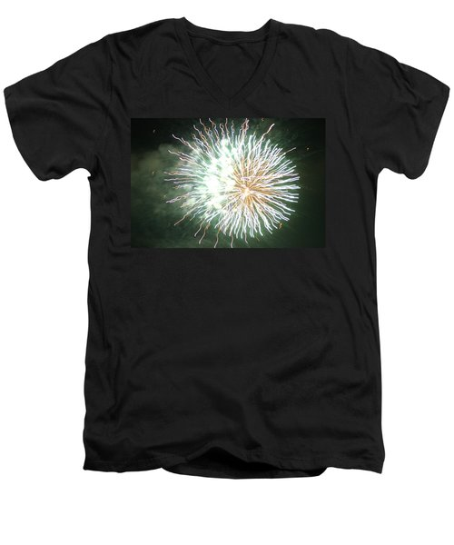 Men's V-Neck T-Shirt featuring the digital art Fireworks In The Park 4 by Gary Baird