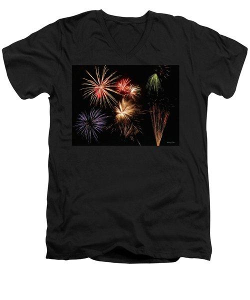 Fireworks Men's V-Neck T-Shirt by Jeff Kolker