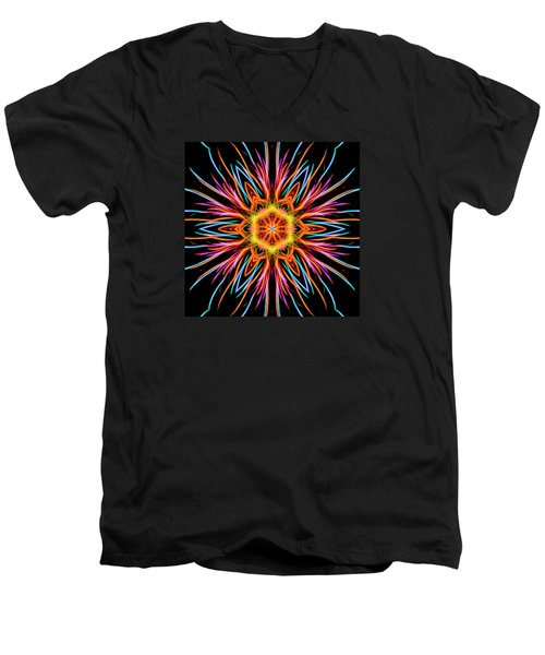 Fireworks Mandala #1 Men's V-Neck T-Shirt by Yulia Kazansky