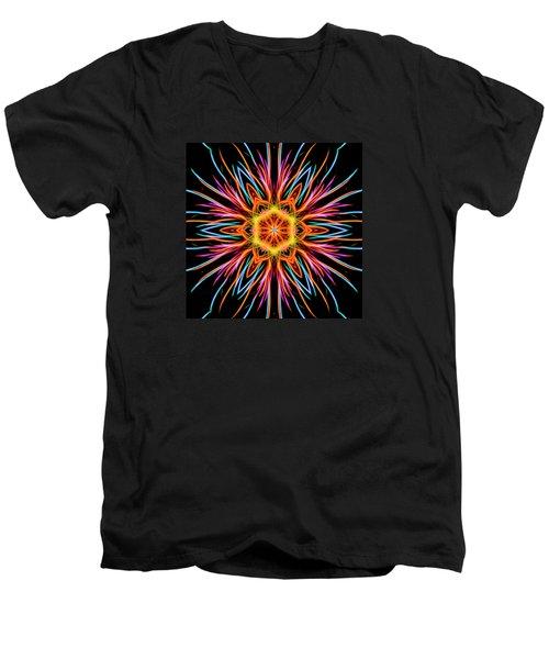Men's V-Neck T-Shirt featuring the photograph Fireworks Mandala #1 by Yulia Kazansky