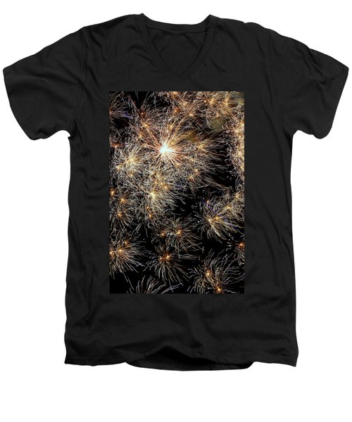 Men's V-Neck T-Shirt featuring the photograph Fireworks by Suzanne Stout