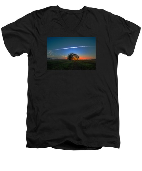 First Light At Center Grove Men's V-Neck T-Shirt by John Harding