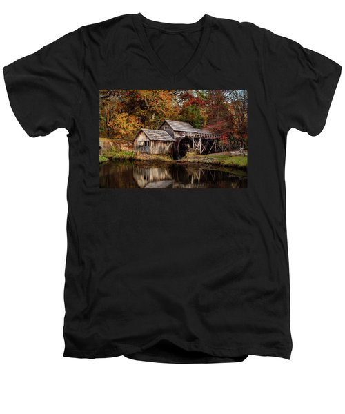 First Light At Mabry Mill Men's V-Neck T-Shirt by Deborah Scannell
