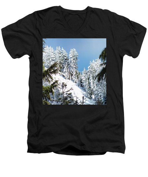 First November Snowfall Men's V-Neck T-Shirt by Wendy McKennon