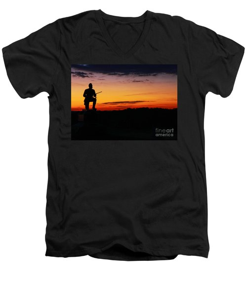 Men's V-Neck T-Shirt featuring the photograph First Pennsylvania Cavalry Sunrise Gettysburg by Randy Steele