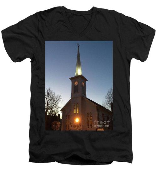 First Presbyterian Churc Babylon N.y After Sunset Men's V-Neck T-Shirt